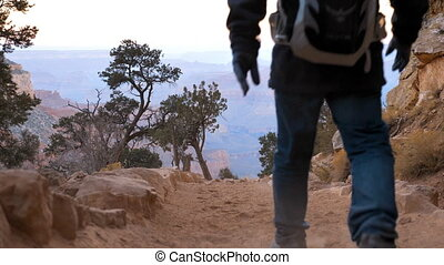 Dirt road in the Grand Canyon - Traveler descends down a...