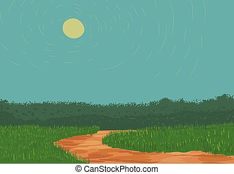 Vector illustration of dirt rough road with grass on the sides.