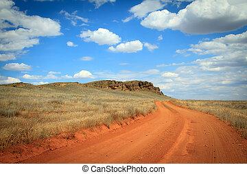 Dirt road orange prairie, going to the blue sky