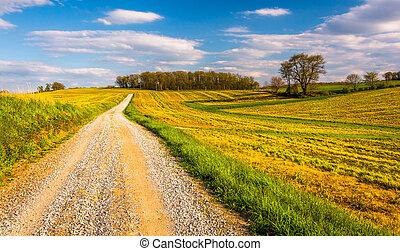 Dirt road through farm fields in rural York County,...