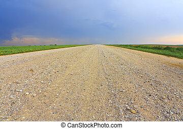 Dirt road through the field
