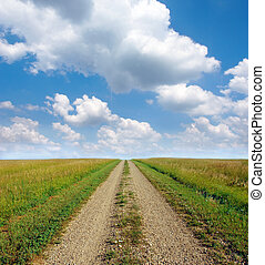 Dirt road through the prairie lands of the American Mid-West.