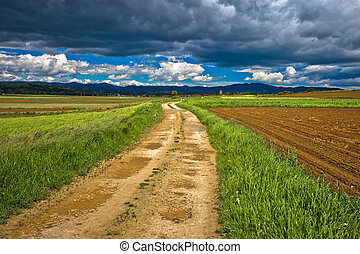 Dirt road under cloudy sky view