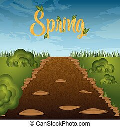 Dirt road with grass and spring text. Spring season - VEctor