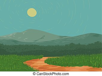 Vector illustration of a dirt road and big mountain in the background.