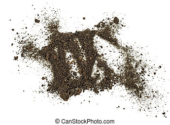 Dirt, soil pile isolated on white background. Top view.