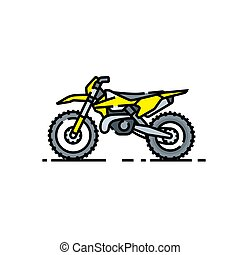 Dirtbike line icon. Offroad motorcycle symbol. Motocross...