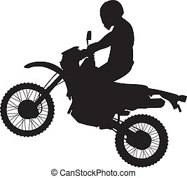 dirtbike, springt, silhouette