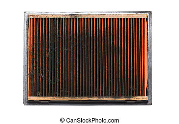Dirty air filter auto spare part isolated on white.