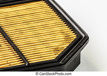 Dirty Air Filter Cartridge  on White Background, Closeup