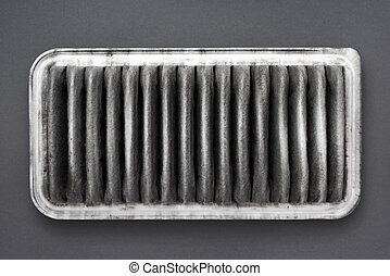 dirty air filter - detailed fragment of dirty air filter on...