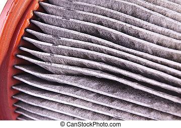 Dirty Air Filter - A closeup of a dirty auto air filter.