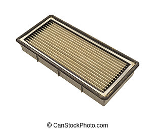 Dirty air filter - Side view of a dusty and dirty used high...