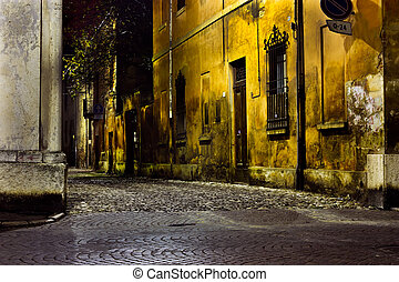 dirty alley - dark alley at night, dirty corner of street in...