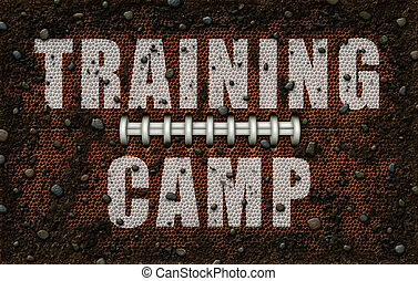 Dirty American Football Texture embossed with Training Camp - 3D Illustration