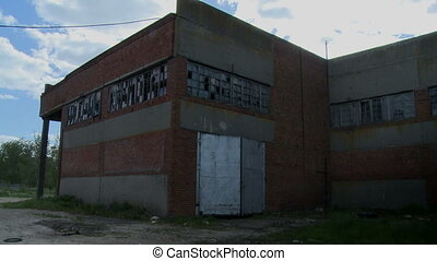 Dirty and abandoned brick building