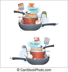 Dirty and clean dishes plates and pans, kitchen cutlery,...