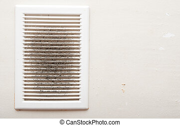 Dirty and dusty ventilation shaft close-up photo