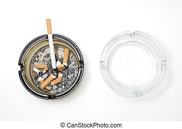 Dirty ashtray and clean ashtray - Picture of two ashtray,...