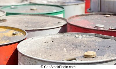 Dirty barrels with used engine oil - On the territory of the...