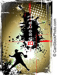 dirty baseball poster - player of the baseball on the dirty...