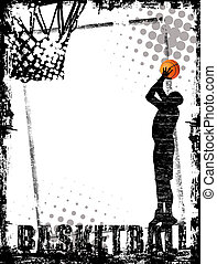 basketball poster - Dirty basketball poster background,...