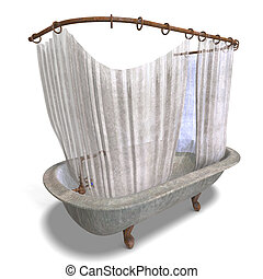 dirty bathtube with shower curtain - 3d rendering of a dirty...
