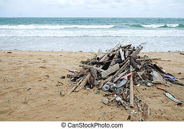 Dirty beach - Dirty garbage on the beach causes ...