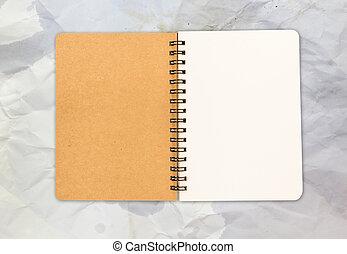 blank open note book