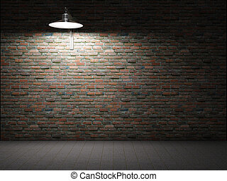 Dirty brick wall illuminated by lamp