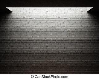 Dirty brick wall illuminated