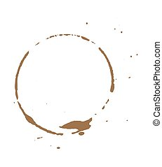 Dirty Brown Coffee Stain - Abstract Retro Grunge Coffee...