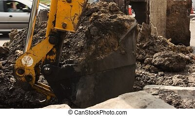 Dirty bucket of an excavator.