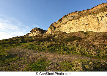 Dirty chalk cliffs of the Sussex coast
