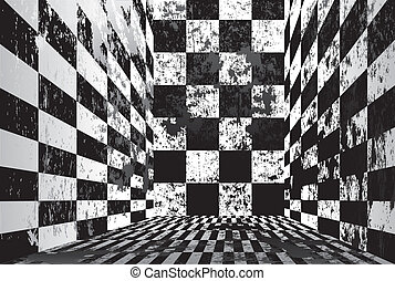 Dirty checkered room