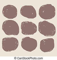 dirty circular grunge stain set of nine