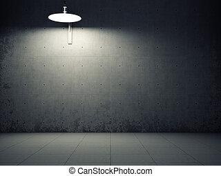 Dirty concrete wall illuminated by lamp