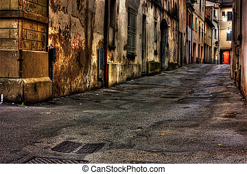 dirty corner - grunge dark alley, slums of the city, squalid...