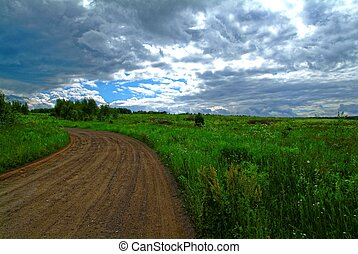 dirty dirt road in the Tula region