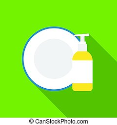 Dirty dishes flat icon. Illustration for web and mobile design.