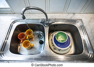 Dirty Kitchen Sink Dirty dishes in kitchen sink in closeup stock photography search dirty dishes in kitchen sink workwithnaturefo