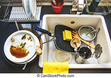 Dirty dishes in the white sink
