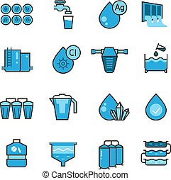 Dirty effluent water treatment plant and water filter for sewage sludge vector icons set. Sewage water, system purification illustration