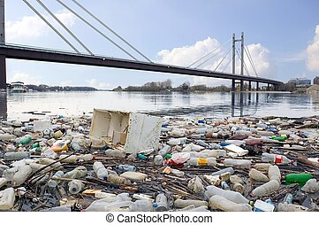 Dirty Environment - Photograph of polluted River full of...