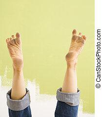 Dirty feet. - Caucasian female legs and dirty feet sticking...