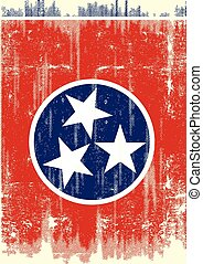 Scratched Tennessee Flag. A flag of Tennessee with a grunge texture