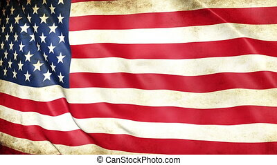 Dirty flag of the United States of America from war waving 3d animation. Seamless looping American flag animation. Vintage USA flag waving