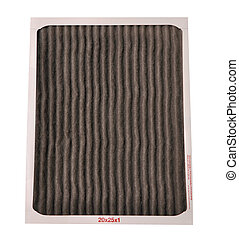 Dirty furnace filter on a white background