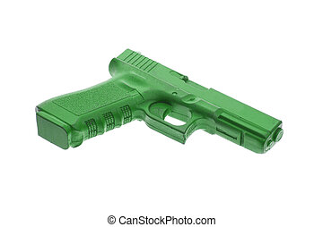 Dirty green training gun isolated on white, law enforcement