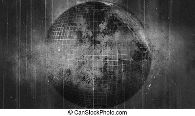Dirty grunge globe in black and white looping animated background